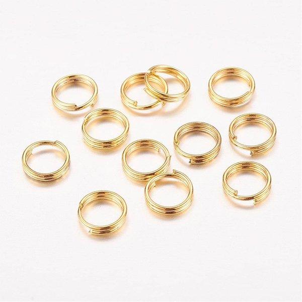 50 stuks splitring goud 6mm