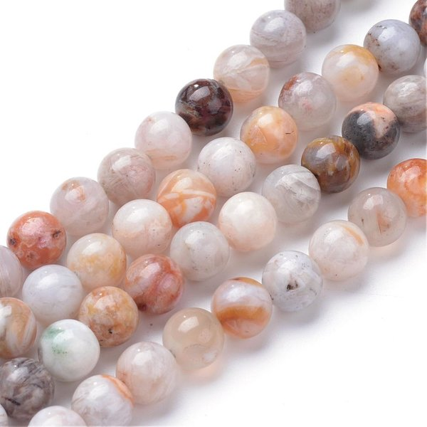 Natural Bamboo Agate Gemstone Beads 8mm, strand 44 pieces
