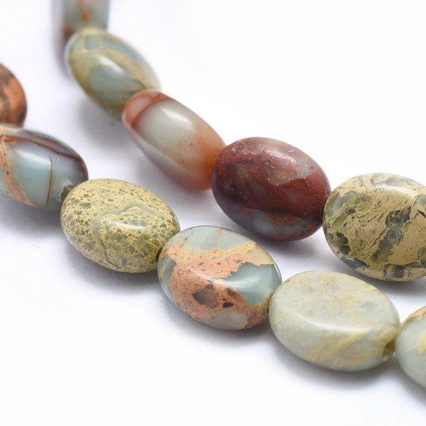 Natural Aqua Terra Jasper Beads 10x8mm, strand 40 pieces