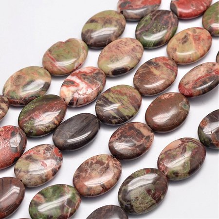 Natural Agaat Kralen Bruin Roze 25x18mm, streng 14 stuks