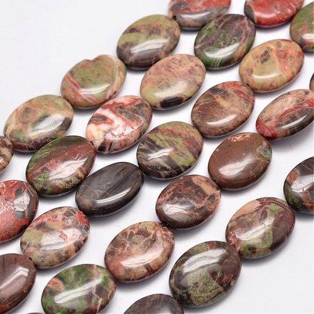 Natural Agaat Kralen Bruin Roze 25x18mm, streng 16 stuks
