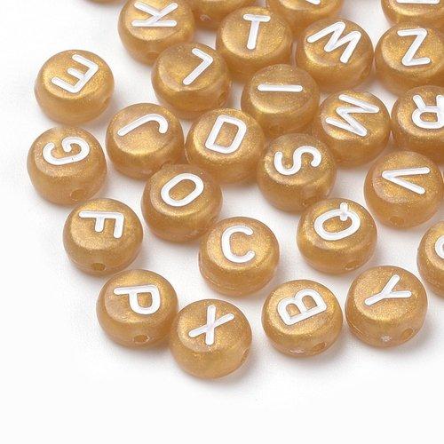 Hele Alfabet Mix Letterkralen Goud 7mm, 400 stuks
