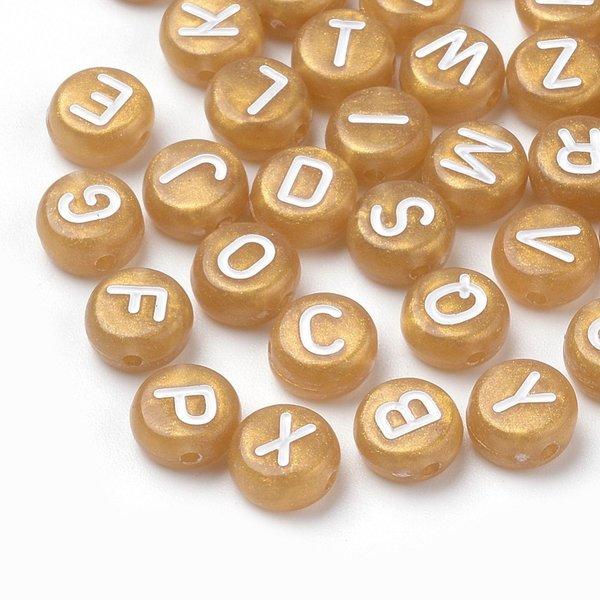 Complete Alfabet Mix Letterkralen Goud 7mm, Voordeel Verpakking 400 stuks