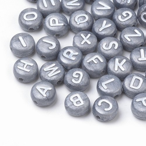 Complete Alphabet Mix Letter Beads Silver 7mm, 400 pieces