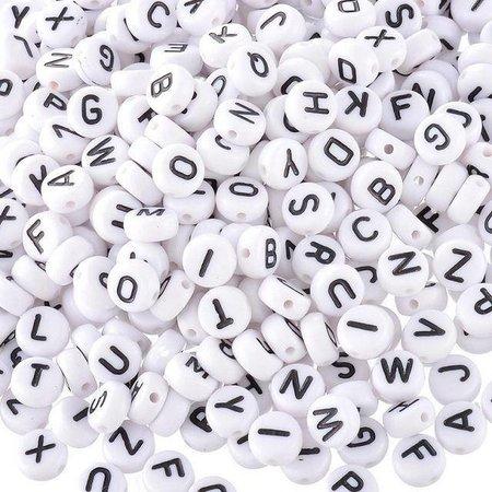 20x Compleet Alfabet Letterkralen Wit 7mm Voordeel Verpakking