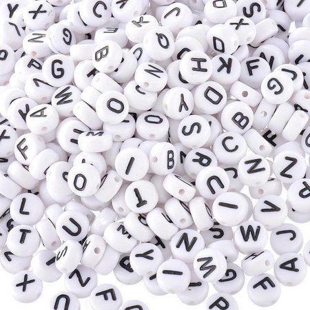 20x Complete Alphabet Letterbeads White 7mm