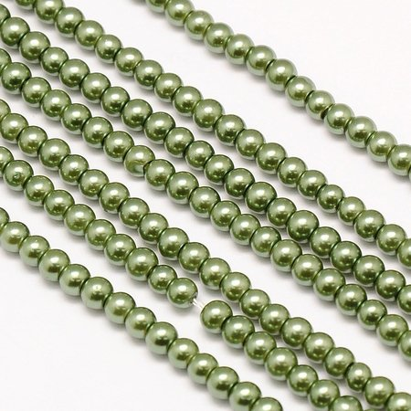 Streng 100 stuks Top Quality Glasparels 4mm Olijf Groen