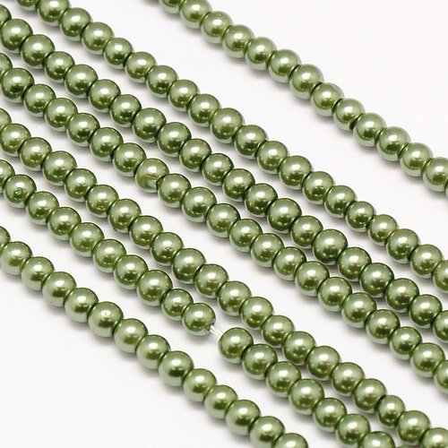 Strand 100 pieces Top Quality Glasspearls 4mm Olive Green