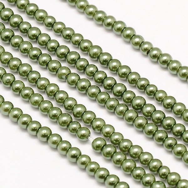 Top Quality Glasspearls 4mm Olive Green, strand 100 pieces