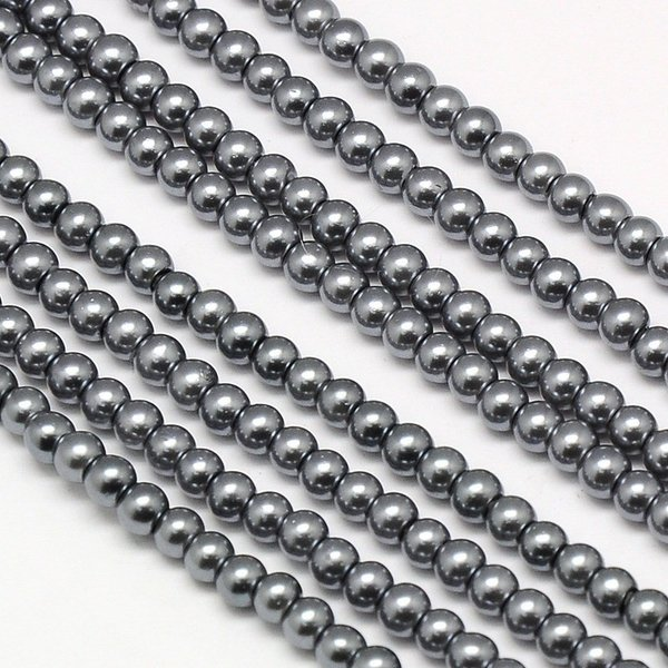 Top Quality Glasspearls 4mm Dark Gray, strand 100 pieces
