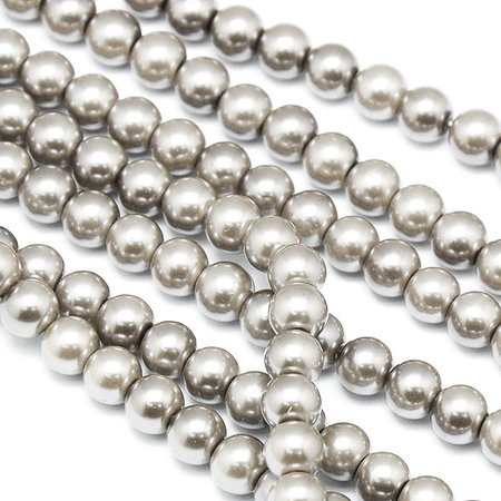 Strand 72 pieces Top Quality Glass Pearls 6mm Gray