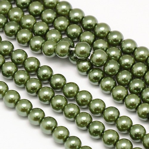 Streng 72 stuks Top Quality Glasparels 6mm Olijf Groen