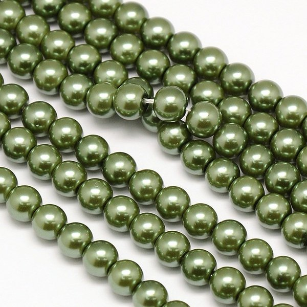 Top Quality Glasspearls 6mm Olive Green, strand 72 pieces