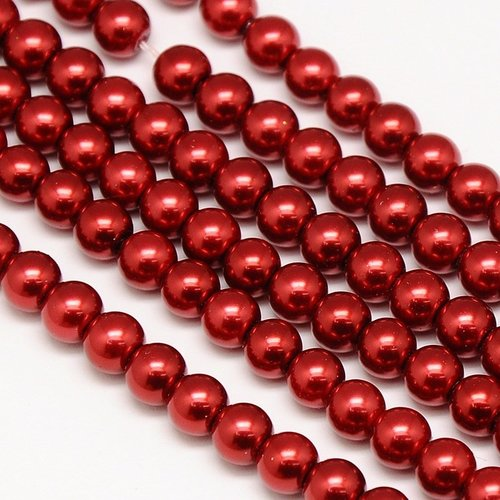 Strand 72 pieces Top Quality Glasspearls 6mm Wine Red