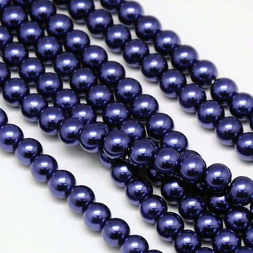 Strand 100 pieces Top Quality Glass Pearls 4mm Midnight Blue