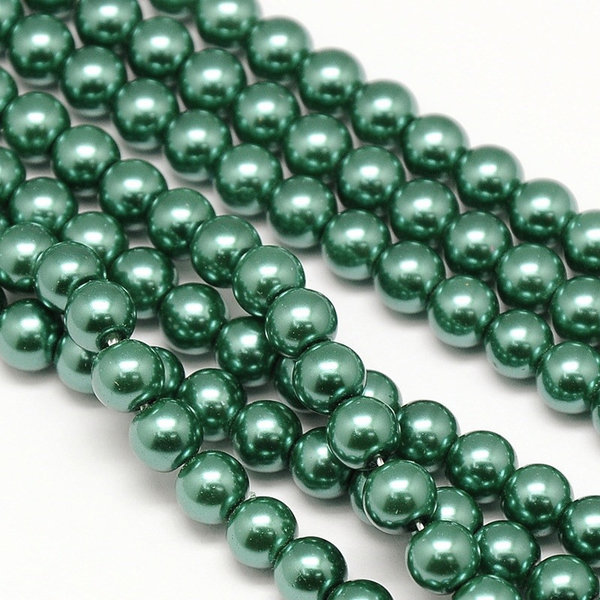 Top Quality Glasspearls 6mm Dark Green, strand 72 pieces