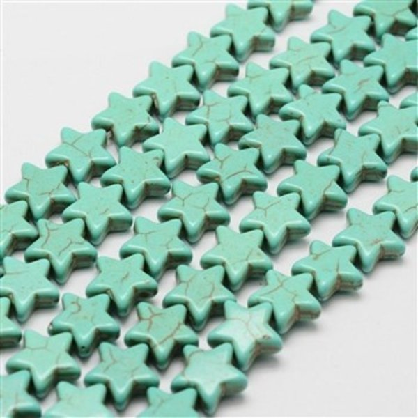 Turquoise Star Beads 12mm, 8 pieces