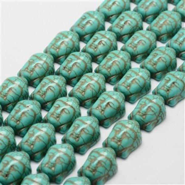 Turquoise Buddha Kraal 20x15mm, 5 stuks