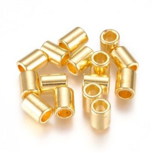 Tube Kralen Goud 8x6mm Nikkelvrij voor 4mm Koord, 10 stuks