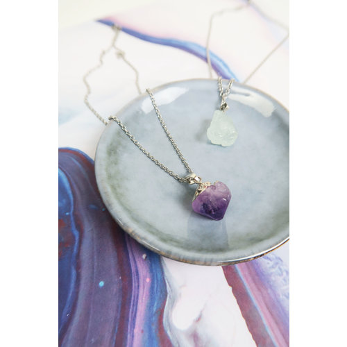Stainless Steel Necklace with Amethyst Charm
