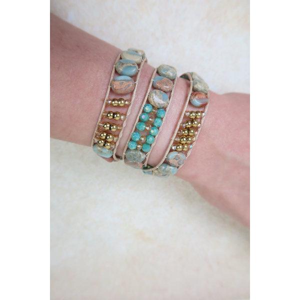 Wrap Bracelet - Mint and Gemstones