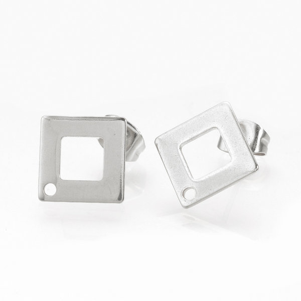 4 pieces Stainless Steel Stud Earring Rhombus Silver 14mm
