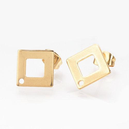 4 pieces Stainless Steel Stud Earring Rhombus 14mm