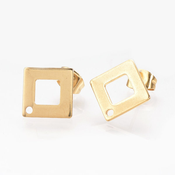 4 pieces Stainless Steel Stud Earring Rhombus Golden 14mm