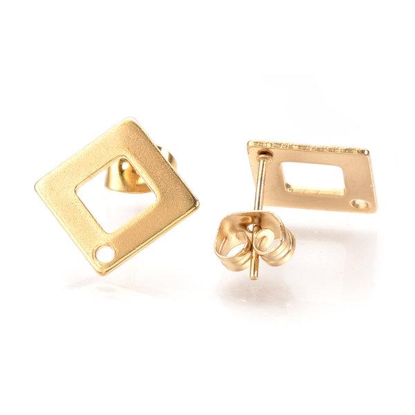 4 pieces Stainless Steel Stud Earring Rhombus Golden 14mm