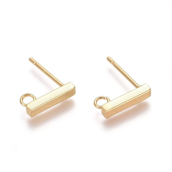 4 pieces Stainless Steel Stud Earring Bar Golden 10x2mm