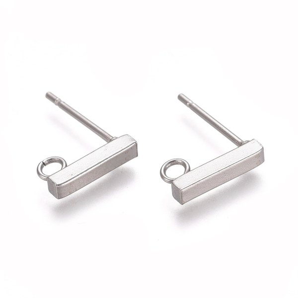 4 pieces Stainless Steel Stud Earring Bar Silver 10x2mm