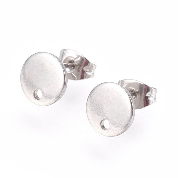 4 pieces Stainless Steel Stud Earring Flat Silver 8mm