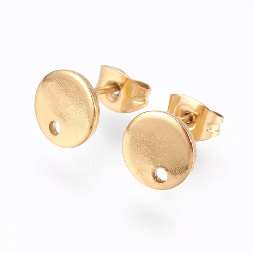 4 pieces Stainless Steel Stud Earring Flat Golden 8mm