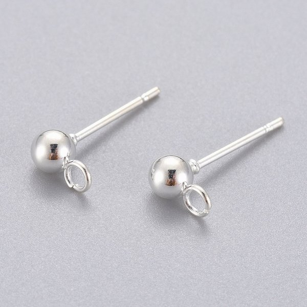 4 pieces Stainless Steel Stud Earring Silver Plated 15x4mm