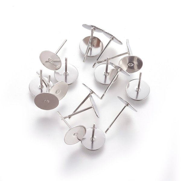 20 pieces Stainless Steel Stud Earring for Cabochon