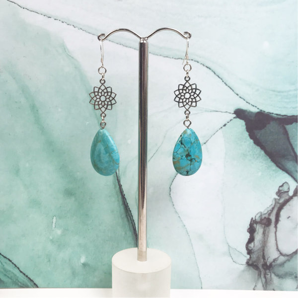 Setje Oorbellen en Leren Armband met Turquoise Edelsteen Druppelkralen - Zwart  Blauw
