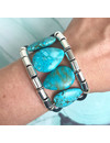 Set of Earrings and Leather Bracelet with Turquoise Drop Gemstones - Black Blue