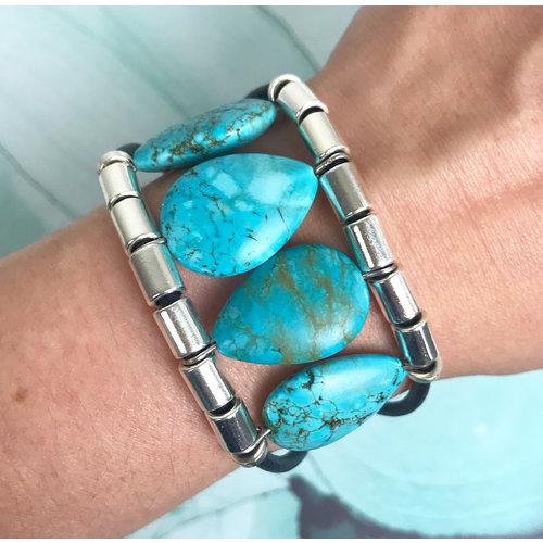 Leren Armband  met Turquoise Edelstenen