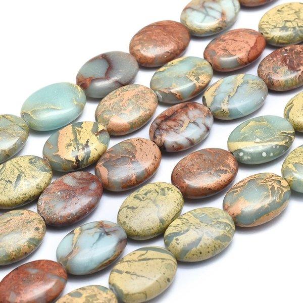 Natural Aqua Terra Jasper Beads 18x13mm, strand 22 pieces