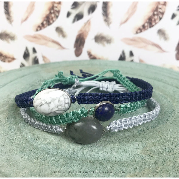 Self Macrame Bracelets Buttons - Blue Turquoise White