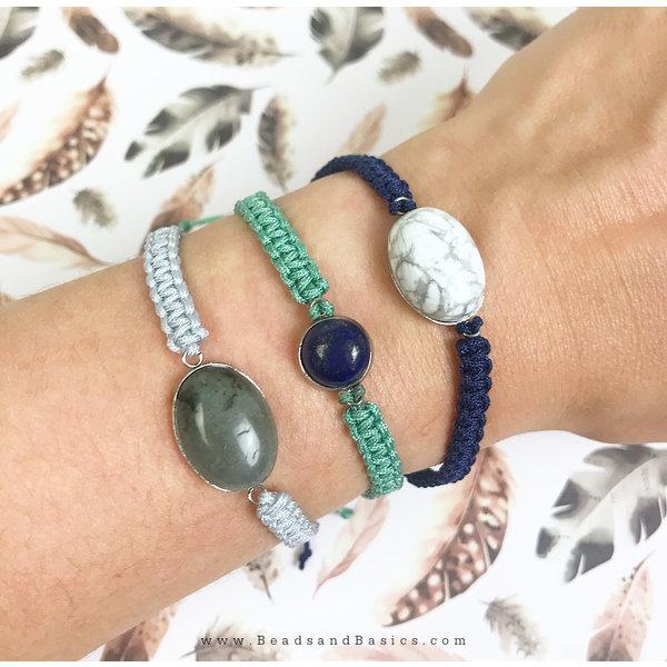 Macrame Armbandjes Knopen - Blauw Turkoois Wit