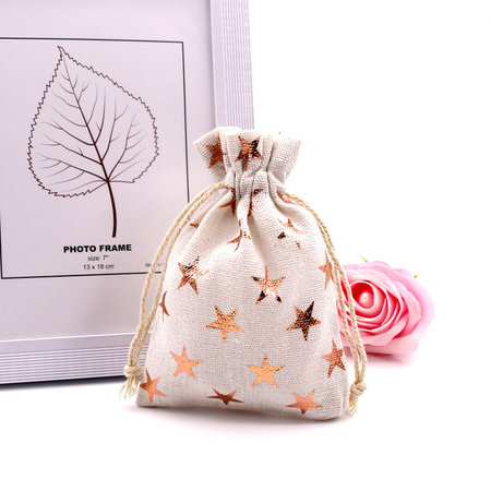 10 pieces Cotton Gift Bags with Stars 14x10cm