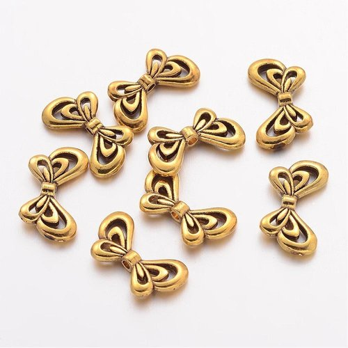Silver Wing Beads Nickel-Free Gold 17x10mm, 6 pieces
