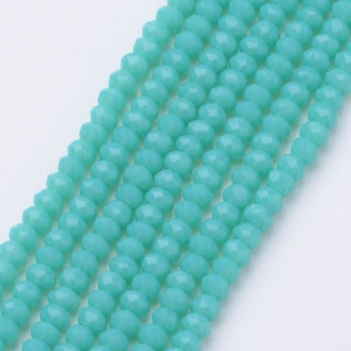 80 pieces Faceted Beads 4x3mm Sea Green