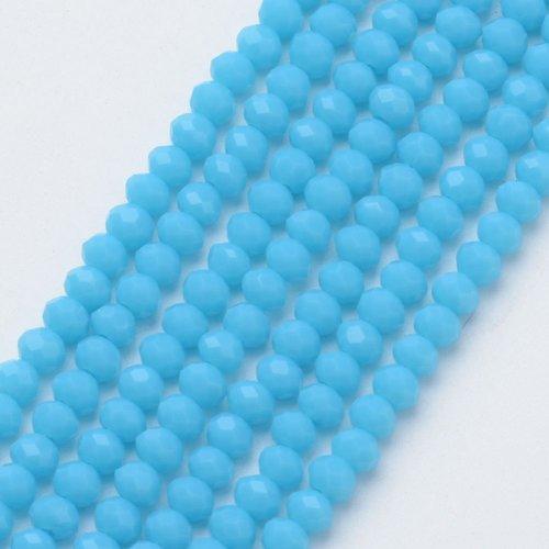 80 pieces Faceted Beads 4x3mm Aqua Blue