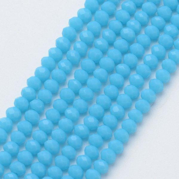 50 pieces Faceted Beads 6x4mm Aqua Blue