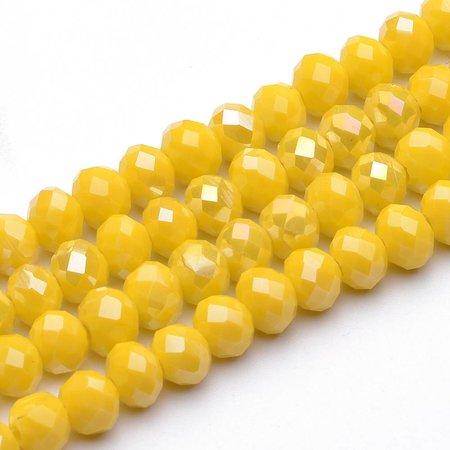 80 stuks Facet Glaskralen Geel Shine 4x3mm