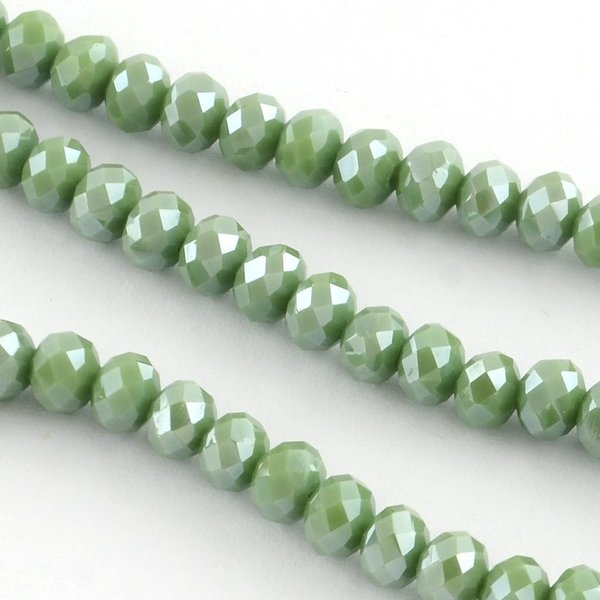 80 pieces Faceted Beads 4x3mm Olive Green Shine