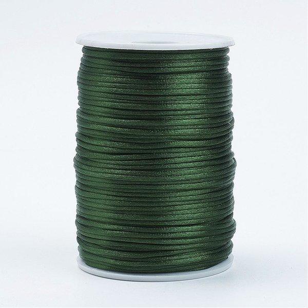 Satijnkoord Donker Groen 2mm, 3 meter