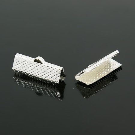 20 pieces  Ribbon End Silver 13x7mm